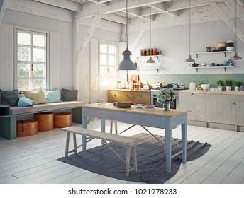 vintage style kitchen interior. 3d rendering concept design