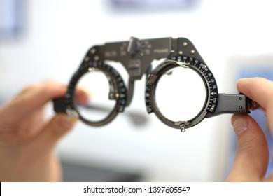 vintage style lens testing eye glasses frame for lens fitting, low depth of field