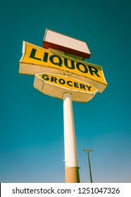 Vintage style Liqour Grocery store sign in the desert outside of Los Angeles