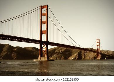 A vintage style look at the Golden Gate Bridge, San Francisco, California.