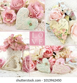 vintage style LOVE collage with hearts and flowers in pastel colors