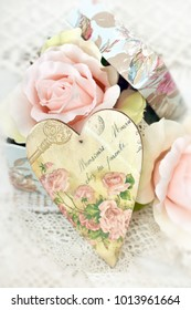vintage style LOVE decoration with decoupage heart and roses in old box