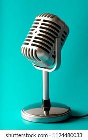 Vintage style microphone in studio