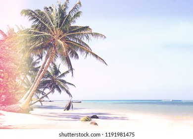 Vintage Style photo of a Beautiful white sand beach on the Little Corn Island in Nicaragua