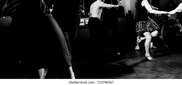 Vintage style photo of dancers at the party