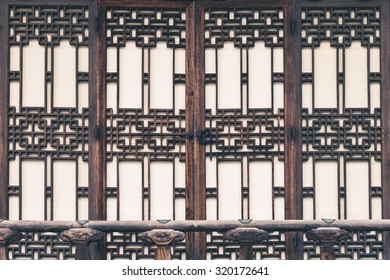 Vintage style photo of traditional Korean door decorations