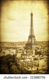 vintage style picture of the Eiffel Tower in Paris, France