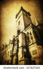 vintage style picture of the historical Old Town City Hall Tower in Prague, Czechia