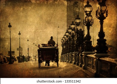 vintage style picture of an old horse-drawn carriage on the bridge pont alexandre III in paris