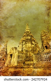 vintage style picture of Wat Chaiwatthanaram, a Buddhist temple in the city of Ayutthaya Historical Park, Thailand. It is one of Ayutthayas best known temples and a major tourist attraction