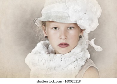 Vintage style portrait of little girl in old-fashion dress