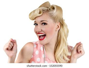 Vintage style portrait of smiling blonde girl