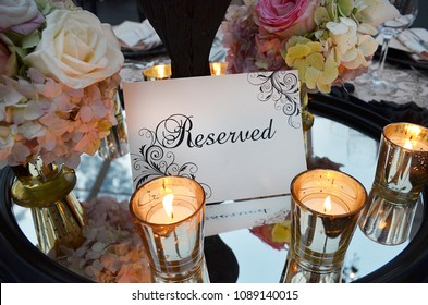 Vintage Style Reserved sign, beautiful flowers and candle Wedding decor, Classic 'Reserved'