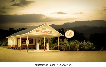 Vintage Style Retro Gas Station in Smoky Mountains USA Sign Was Changed to Say GAS Which Is More Generic