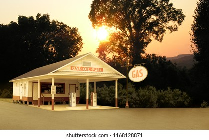 Vintage Style Retro Gas Station in Tennessee USA at Dusk Sign Changed to Say GAS Which Is More Generic