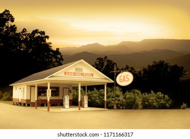 Vintage Style Retro Gas Station in Smoky Mountains Tennessee USA Sign Was Changed to Say GAS Which Is More Generic