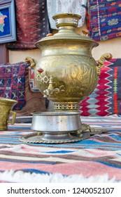 Vintage style samovar. Copper tea samovar