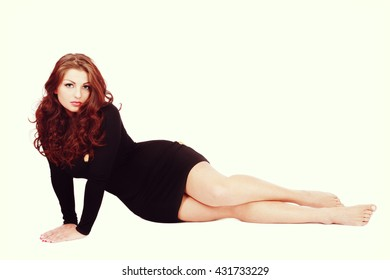 Vintage style shot of young beautiful sexy plus-size woman with long curly hair, copy space
