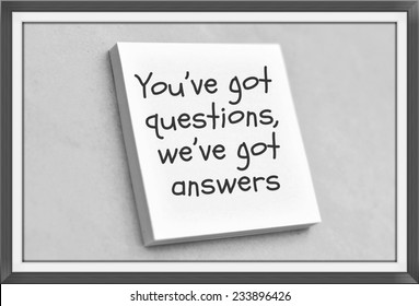 Vintage style text you've got questions we've got answers on the short note texture background