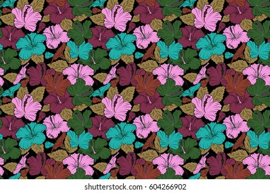 Vintage style. Tropical flowers, hibiscus leaves, hibiscus buds, seamless raster floral pattern on black background in pink, brown and purple colors.