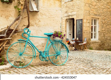 Vintage Style Turqouise Painted Bicycle in Alacati Streets