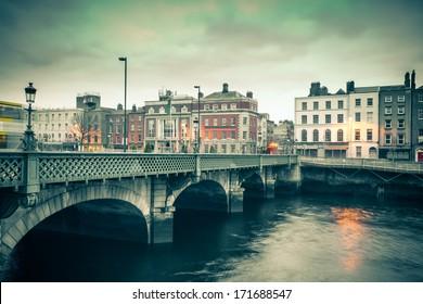 Vintage style view of Dublin Ireland Grattan Bridge