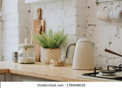 Vintage style white kitchen with kettle
