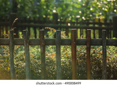 Vintage style wooden fence at the park.