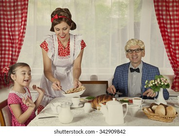 Vintage styled family have breakfast at home. Monochrome, grunge textures, intentional styled to the 1900s