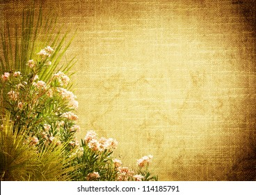 vintage stylized background with floral decoration (palm leaves and oleander)