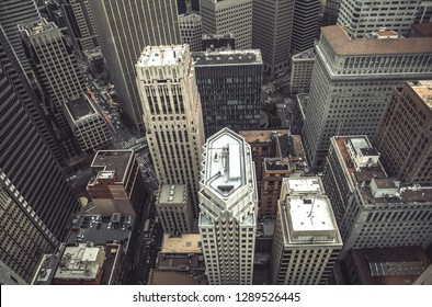 Vintage stylized photo of skyscrapers in San Francisco City, California, USA. Look down of San Francisco