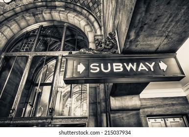 Vintage subway sign in Manhattan, New York City.