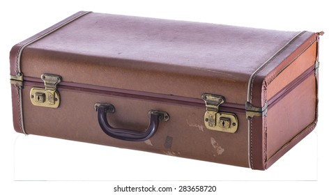 Vintage Suitcase Closed Angled Isolated