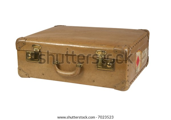 Vintage suitcase isolated on white