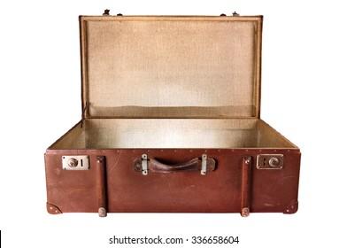 Vintage Suitcase lighting inside,  isolated on white background