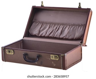 Vintage Suitcase Open Angled Isolated