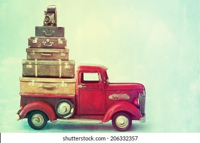 Vintage suitcases with camera