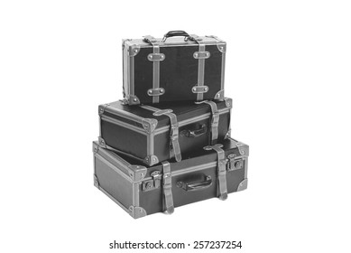 Vintage suitcases isolated in black and white