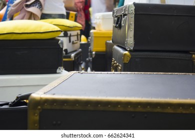 vintage suitcases on the street