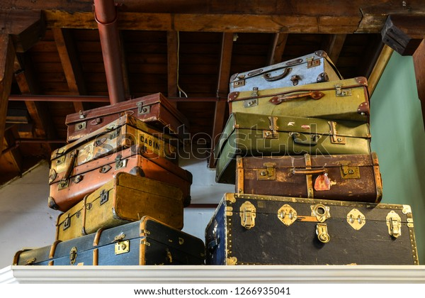 Vintage suitcases stacked.