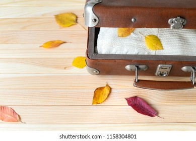 Vintage suitecase with knitted sweater and colorful leaves on the wooden background. Autumn trip. Space for text