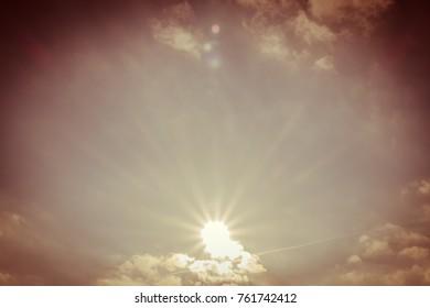 vintage sunset sunny sky