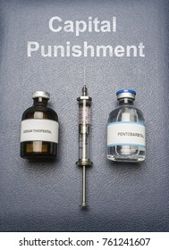Vintage syringe and drugs used in lethal injection on a book of Capital Punishment, digital composition, conceptual image