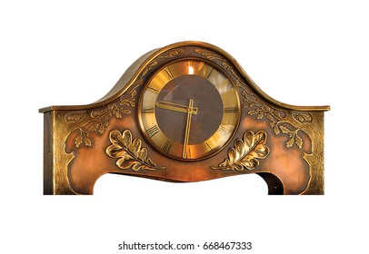 Vintage table clock on white background