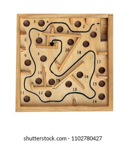 Vintage table game labyrinth isolated on white background.