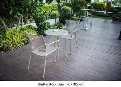 vintage table in garden