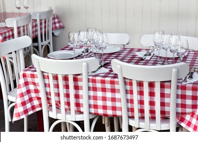 Vintage table set in a French bistro