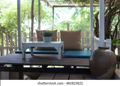 Vintage table setting in the garden-selective focus