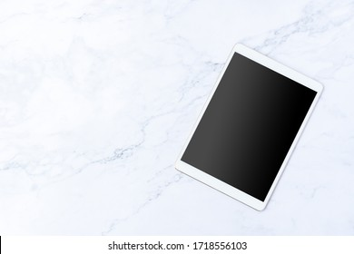 Vintage tablet mockup flat lay iPad Pro on white marble table top view background texture empty space concept smartphone office blank paper note, plan on business calendar, blogger idea organizer note