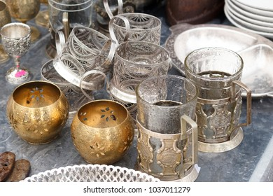 Vintage tableware at the flea market